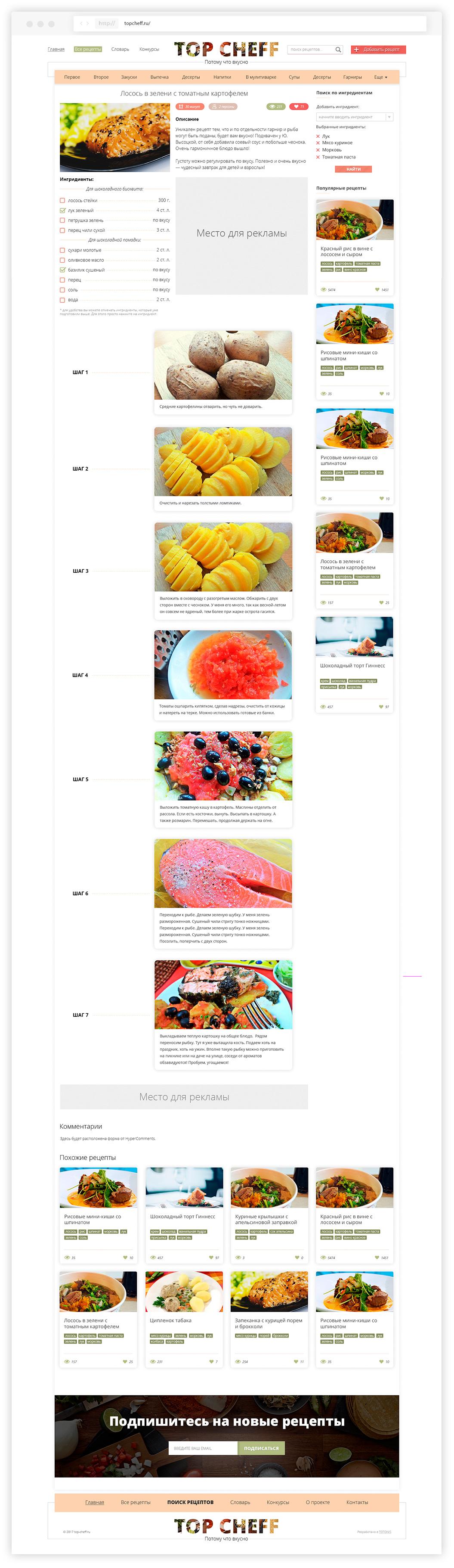 Страница рецепта сайта Topcheff